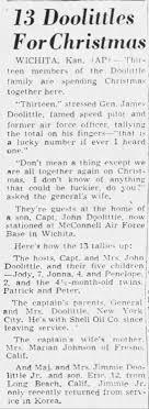 Doolittle Xmas: Lt. Gen. James Harold Doolittle &Josephine Elise Daniels  Doolittle - Newspapers.com