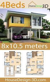 House Design 3d 8x10.5 with 4 bedrooms - House Design 3d in 2020 | Kerala  house design, Model house plan, House layout plans