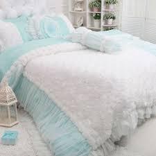 rose ruffle duvet cover set blue