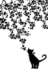 無料イラスト 透過pngイラスト シルエット しだれ桜と猫