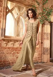 Buy Pakistani Pant Suits Online Beige Pant Style Punjabi Suit