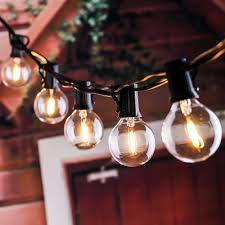 Us 39 99 25ft G40 Globe String Lights With Clear Led Bulbs Energy Saving Backyard Patio Lights For Bistro Pergola Tents Market In Lighting Strings