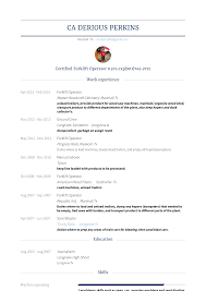 Forklift Operator Resume Samples And Templates Visualcv
