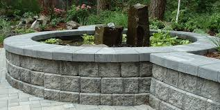 block wall gray water feature pond woody s custom landscaping inc battle ground