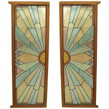 pair of french art deco stained glass doors for