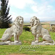 outdoor big marble lion statues pair for