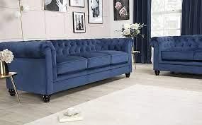 hampton blue velvet 3 seater