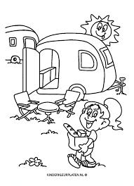 Kleurplaat Caravan Camping Standplaats Vakantie
