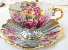 Decorating With Teacups And Saucers Lovely old Fluted Teacup and Saucer Pale blue with floral 53