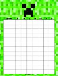 Minecraft Sticker Chart Printable Minecraft Chore Chart Minecraft Chore Chart