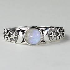 triple moon ring with moonstone in