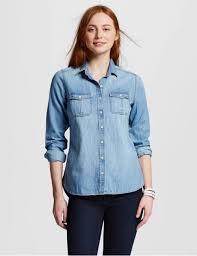 Womens Mossimo Denim Wash Long Sleeve Button Up Shirt