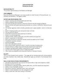 Assistant Warehouse Manager Job Description Job Description For Merchandiser Resume Sample Merchandising Samples