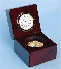brass spherical quartz desk clock with magnetic compass
