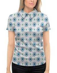 """Рубашка Поло с полной запечаткой """"Падающие <b>снежинки</b> ..."""