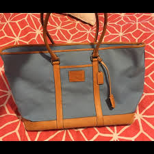 Coach Blue Canvas X-Large Zipper Tote Bag