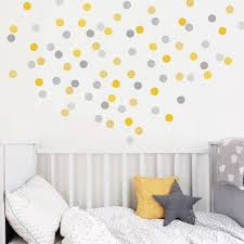yellow and grey polka dot wall stickers