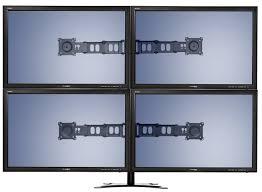 com doublesight quad monitor flex stand fully adjule height tilt pivot free standing vesa 75mm 100mm up to 32 monitors computers