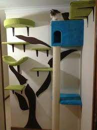 modern cat climbing tree and house