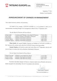 Announcement Of Changes In Management Of Tatsuno Europe A S