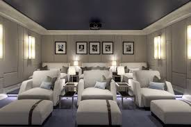 Achille Salvagni designed the screening room in this Southampton, New York,  estate as a space where the whole family can indulge in their love for  movies.