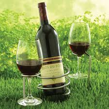 set of steady sticks outdoor wine bottle and glass holders