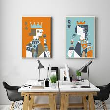 <b>Abstract Poker King and</b> Queen Canvas Paintings Wall Art Nordic ...