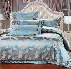 royal luxury blue 4pcs silk satin jacquard bedroom bedclothes duvet cover bedsheet bed set queen king size b5359 fast