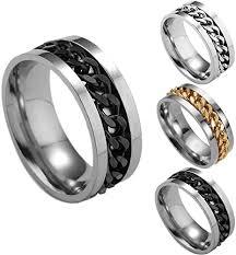 Rings for Men, <b>2020 Fashion</b> Men's <b>Titanium</b> Steel Chain Rotation ...