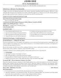 paramedic resume samples impressive inspiration examples templates free  sample