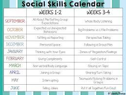 Social Skills Calendar School Pensamiento Social