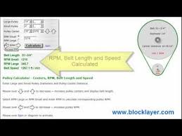 Pulley Belt Length Speed And Rpm Calculator