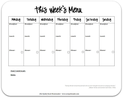 029 Black And White Free Printable Meal Plan Sheet Template