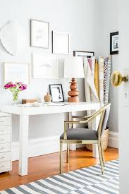 white parsons desk with gold and gray chair