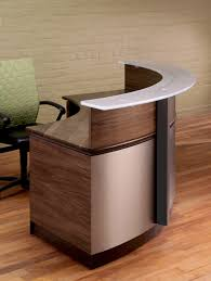 modern circular reception desks credenzas conference tables contrasting textured stainless steel with wood