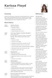 Hostess, Busser Resume samples