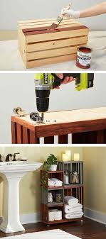Unique diy bathroom ideas using wood Pallet These Ideas Include Using Diy Wooden Shelves In T Turn Ordinary Wooden Crates Into Cool Bathroom Storage On Wheels Just Follow Our Stepbystep Tutorial Pinterest Diy Bathroom Storage Shelves Made From Wooden Crates Easy Diy
