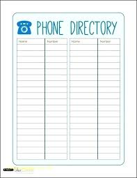 Address Book Template Excel Telephone Contact List Template Free Phone Directory Printable