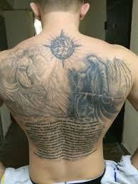 тату молитва надпись на груди