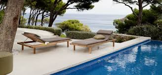 high end patio furniture. vis teak lounger with sidetable by piergiorgio cazzaniga high end patio furniture