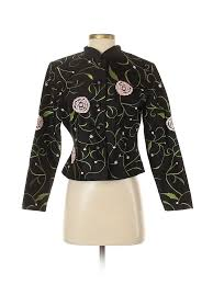 Details About Msk Women Black Silk Blazer Sm Petite
