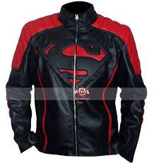 smallville superman red black designer leather jacket