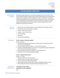 actor resume template beginner acting resume sample