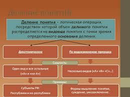 Деление понятий в логике реферат Бесплатное хранилище  Виды понятий различные виды и примеры логика