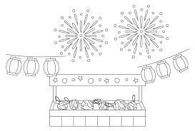 無料の夏祭り水風船の屋台と打ち上げ花火のぬりえ ぬりえパーク