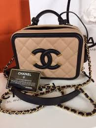 chanel vanity case. chanel beige black vanity case bag this is the 2016. spring summer 2016 collection. grained caviar leath\u2026 v