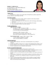 examples of resumes  sample resume for job application pdf inside