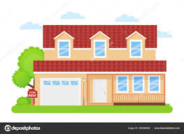 Illustration Board House Design House Rent Sign Vector Rent Sale Wooden Board Home Building
