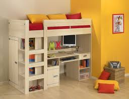 space saving bunk bed made of solid wood in cream finish built in study desk and built in study furniture