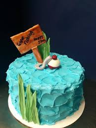 Gone Fishing Cake With A Bobber And Hook For A 50th Birthday Also